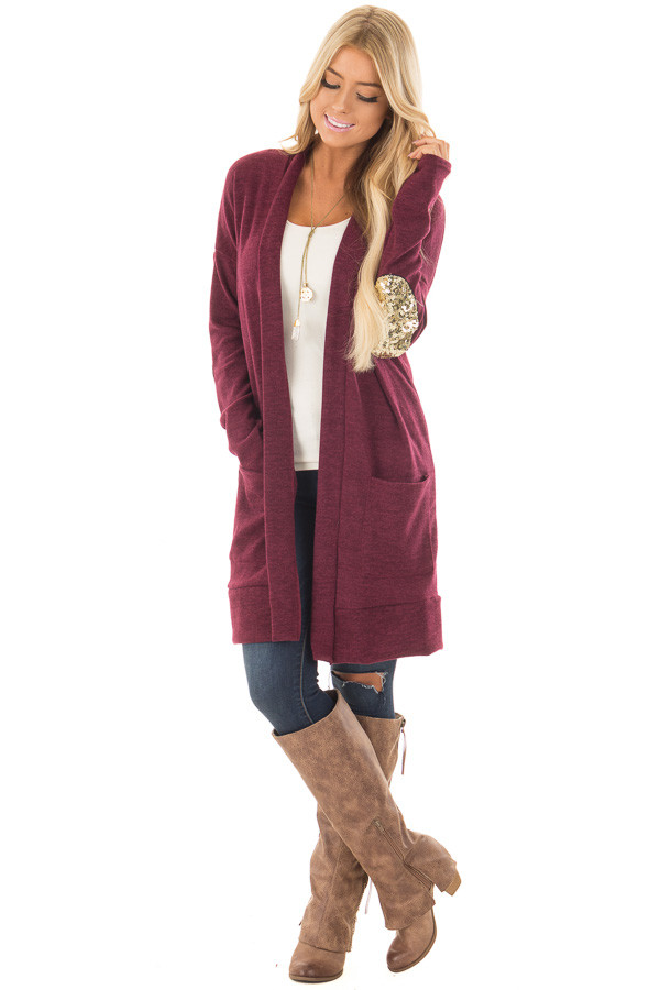 Burgundy Knit Open Cardigan with Gold Sequin Elbow Patches front full body