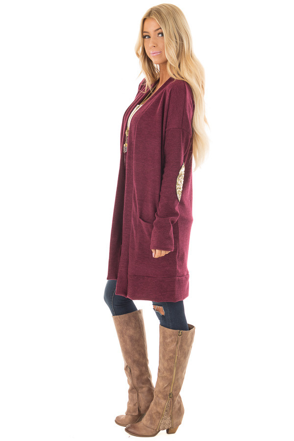 Burgundy Knit Open Cardigan with Gold Sequin Elbow Patches side full body