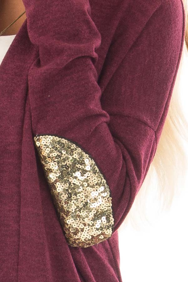 Burgundy Knit Open Cardigan with Gold Sequin Elbow Patches detail