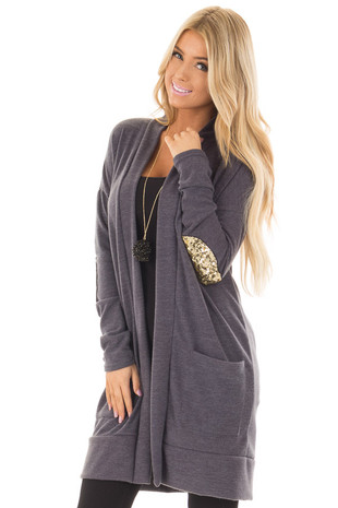 Charcoal Knit Open Cardigan with Gold Sequin Elbow Patches front close up