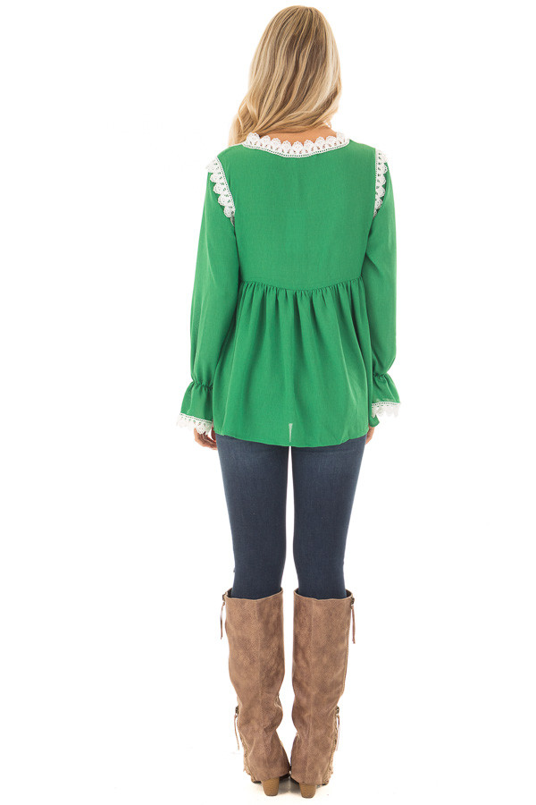 Kelly Green Babydoll Blouse with White Lace Details back full body