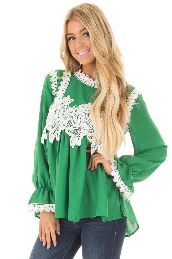 Kelly Green Babydoll Blouse with White Lace Details front close up