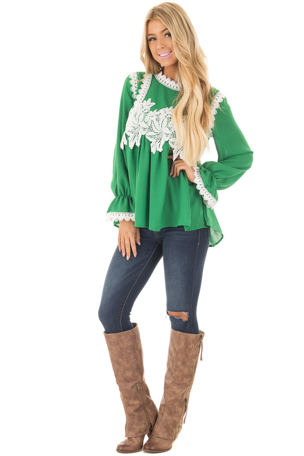 Kelly Green Babydoll Blouse with White Lace Details front full body