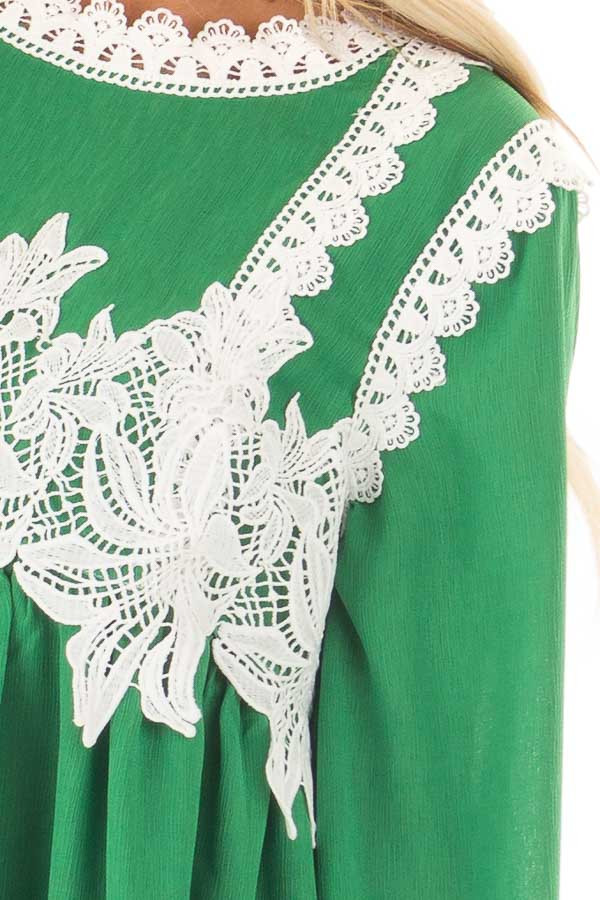 Kelly Green Babydoll Blouse with White Lace Details detail