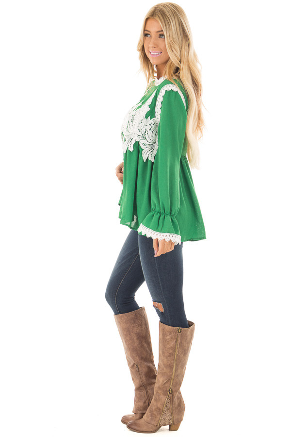 Kelly Green Babydoll Blouse with White Lace Details side full body
