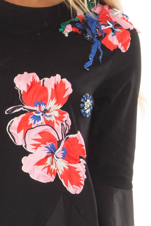 Black Top with Embellished 3D Floral and Jewel Details detail