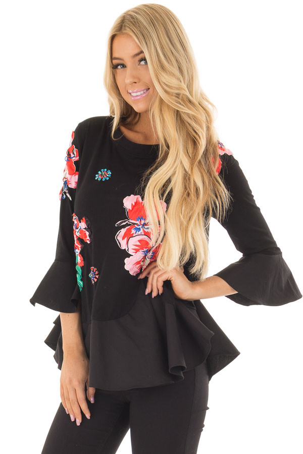 Black Top with Embellished 3D Floral and Jewel Details front close up