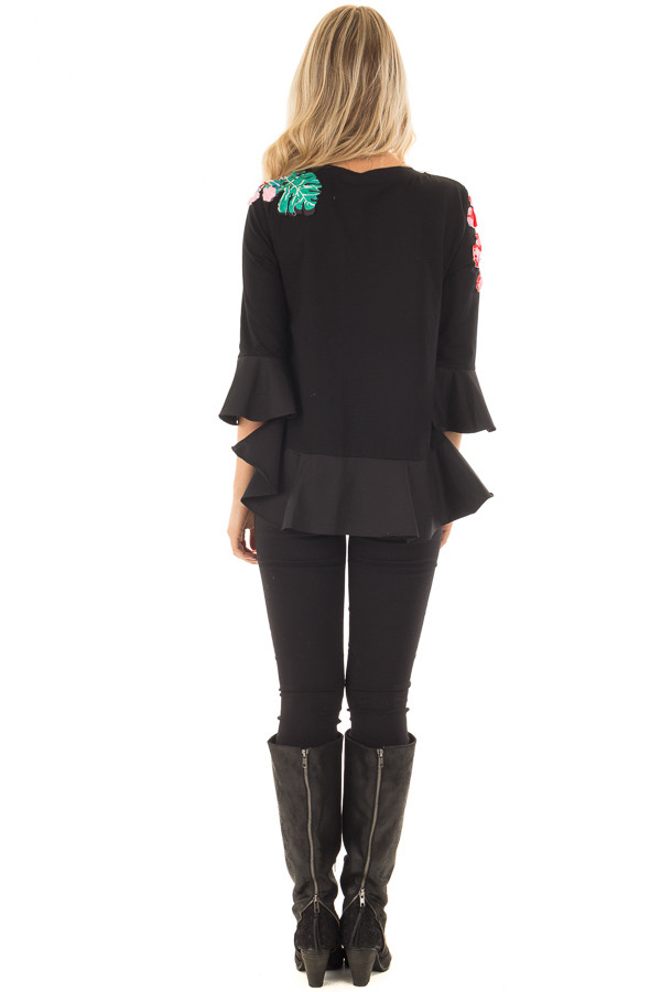 Black Top with Embellished 3D Floral and Jewel Details back full body