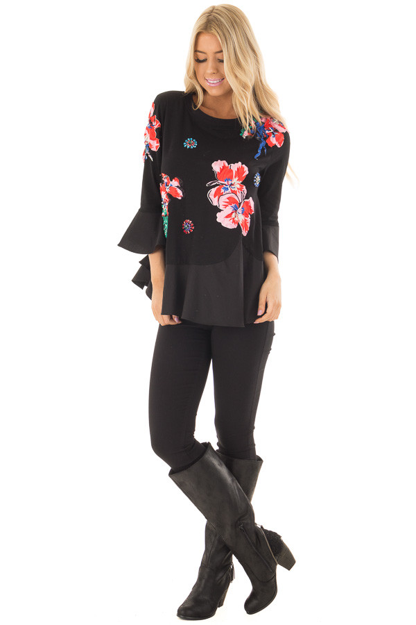 Black Top with Embellished 3D Floral and Jewel Details front full body