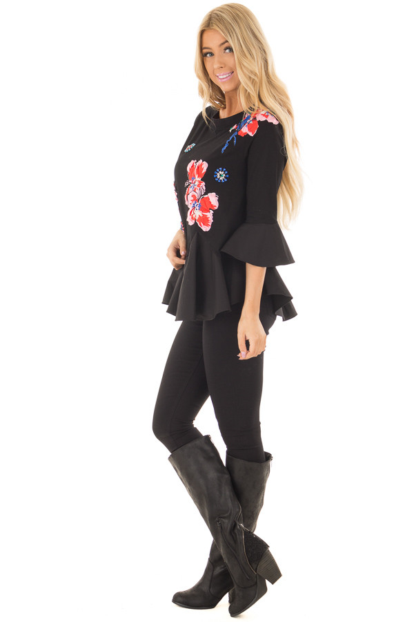 Black Top with Embellished 3D Floral and Jewel Details side full body