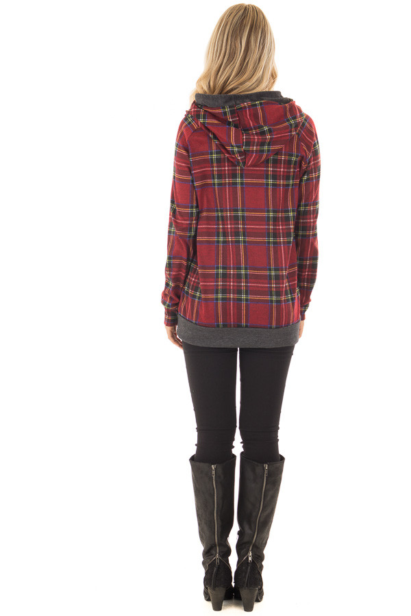 Burgundy Plaid Double Hooded Sweater with Charcoal Contrast back full body