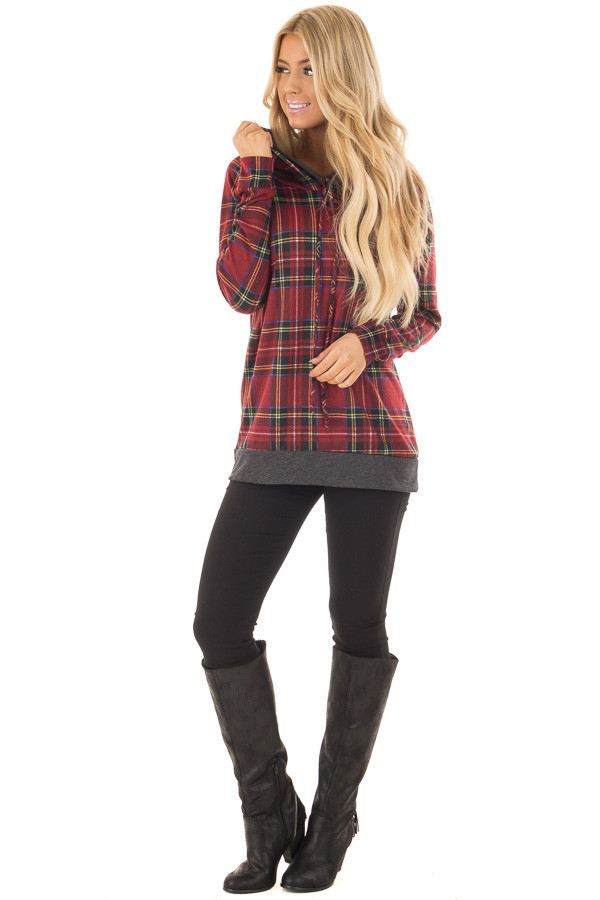 Burgundy Plaid Double Hooded Sweater with Charcoal Contrast front full body