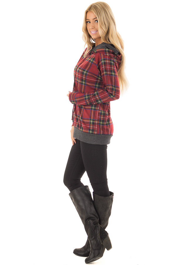 Burgundy Plaid Double Hooded Sweater with Charcoal Contrast side full body