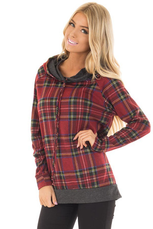 Burgundy Plaid Double Hooded Sweater with Charcoal Contrast front close up