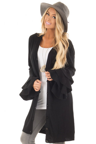 Black Layered Bell Sleeve Button Up Cardigan front close up