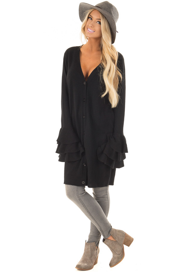 Black Layered Bell Sleeve Button Up Cardigan front full body