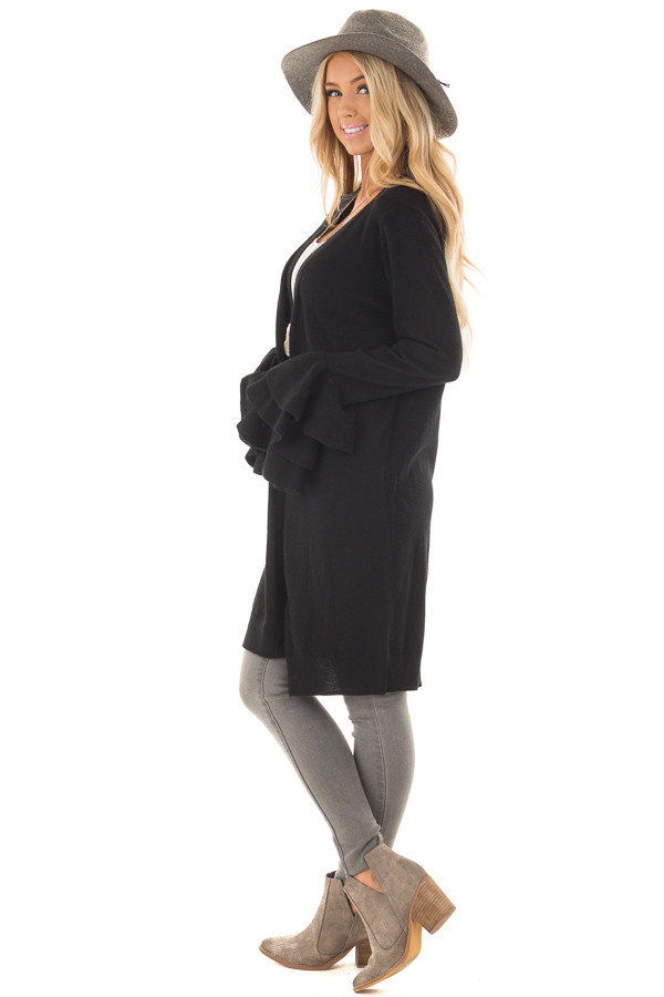 Black Layered Bell Sleeve Button Up Cardigan side full body