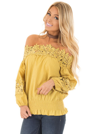 Mustard Off the Shoulder Top with Sheer Neckline front close up