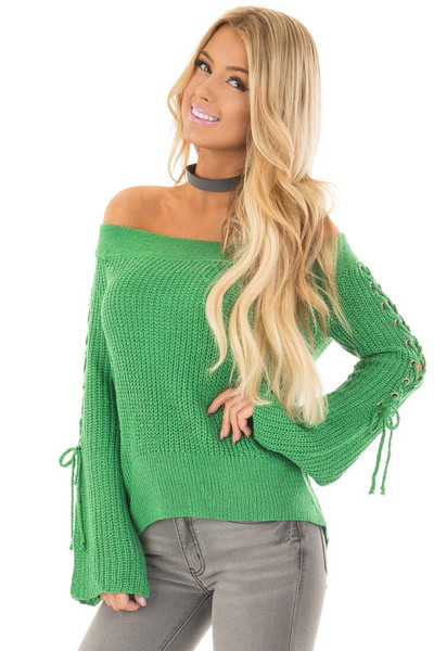 Kelly Green Off the Shoulder Sweater with Lace Up Sleeves front close up