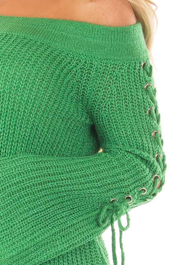 Kelly Green Off the Shoulder Sweater with Lace Up Sleeves detail