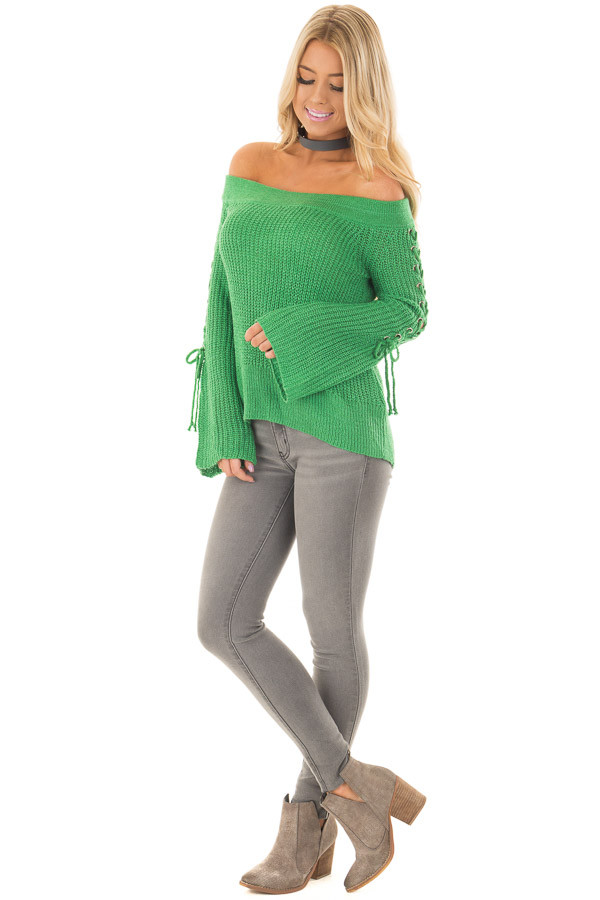 Kelly Green Off the Shoulder Sweater with Lace Up Sleeves - Lime ...