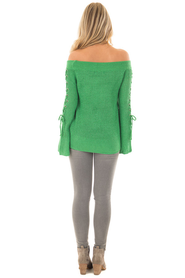 Kelly Green Off the Shoulder Sweater with Lace Up Sleeves back full body