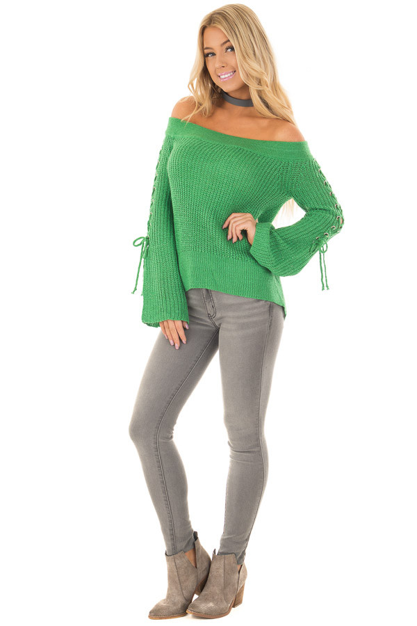 Kelly Green Off the Shoulder Sweater with Lace Up Sleeves front full body