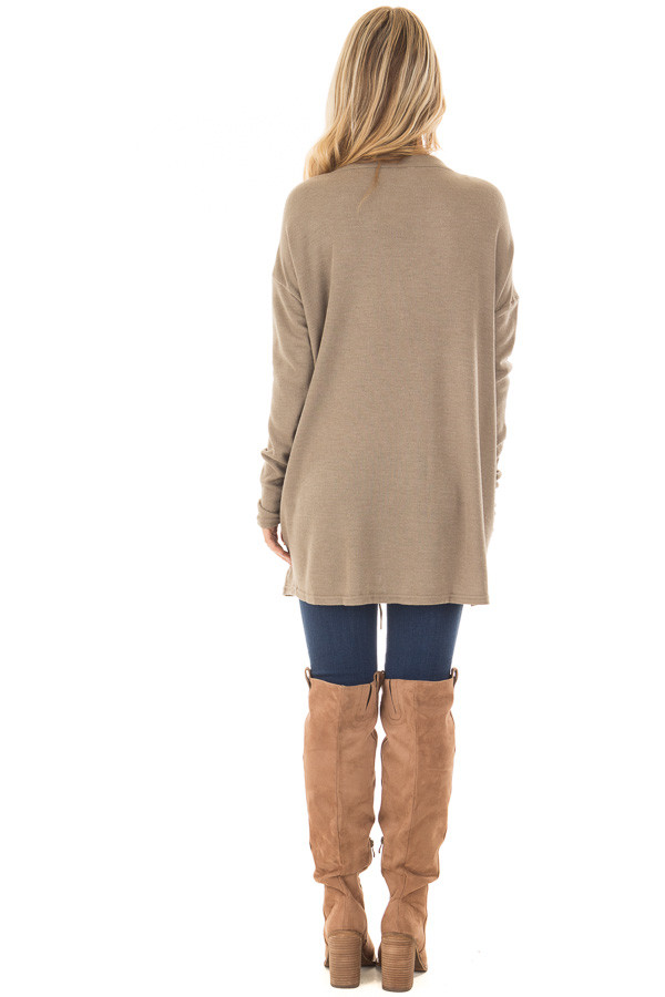 Cappuccino Loose Fit Tunic with Lace Up Front back full body