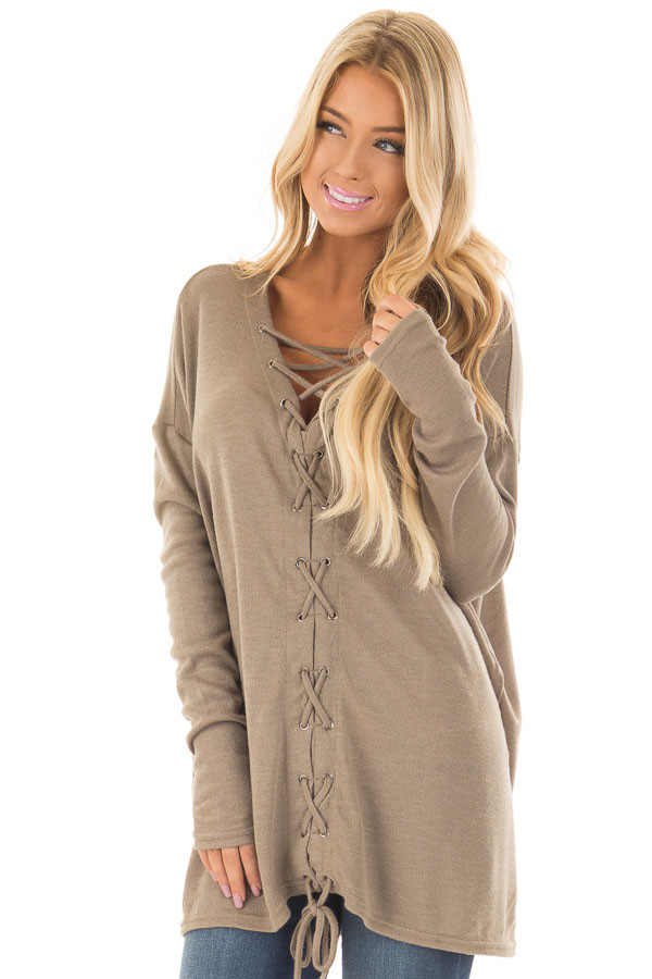 Cappuccino Loose Fit Tunic with Lace Up Front front close up