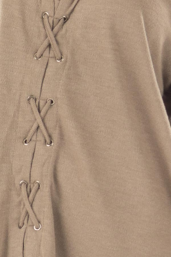 Cappuccino Loose Fit Tunic with Lace Up Front detail