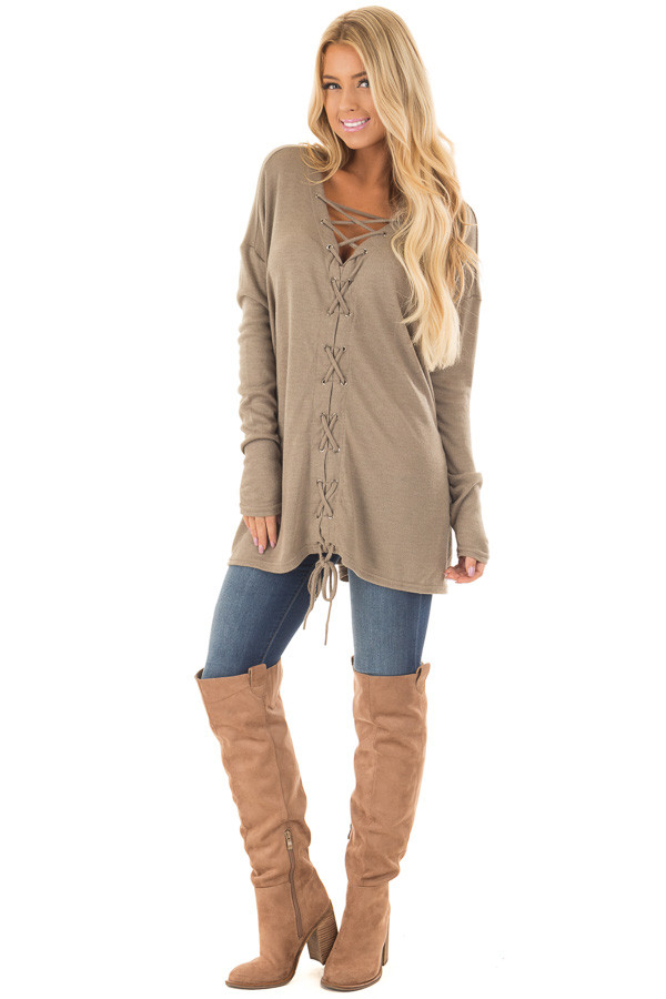 Cappuccino Loose Fit Tunic with Lace Up Front front full body