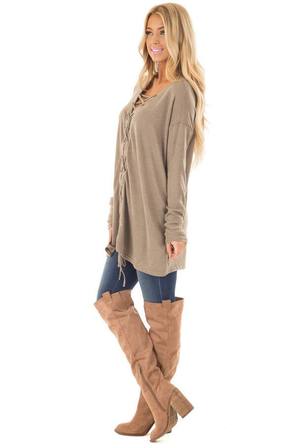 Cappuccino Loose Fit Tunic with Lace Up Front side full body