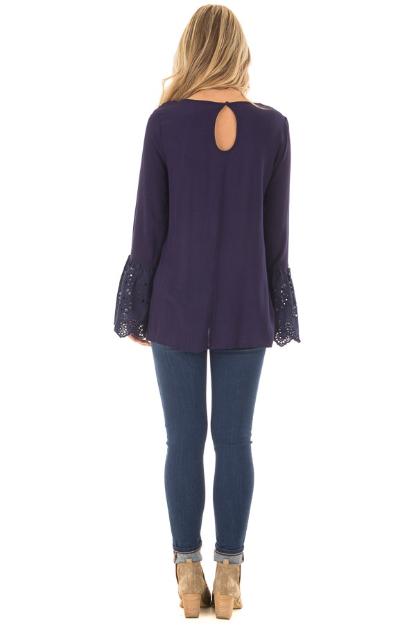 Navy Blouse with Crochet Details and Eyelet Bell Sleeves back full body