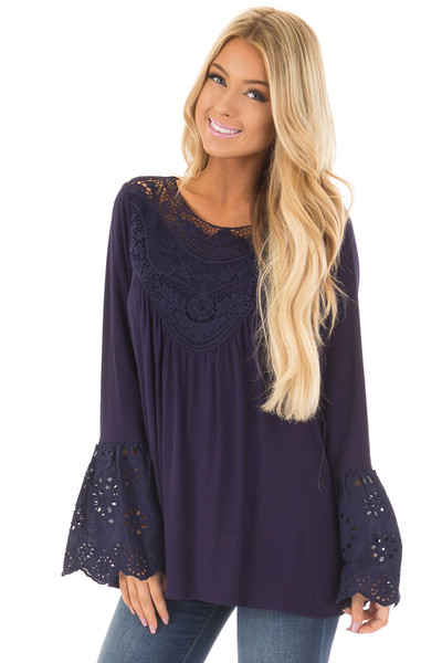 Navy Blouse with Crochet Details and Eyelet Bell Sleeves front close up