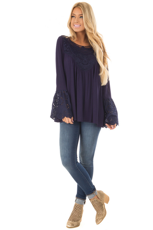 Navy Blouse with Crochet Details and Eyelet Bell Sleeves front full body