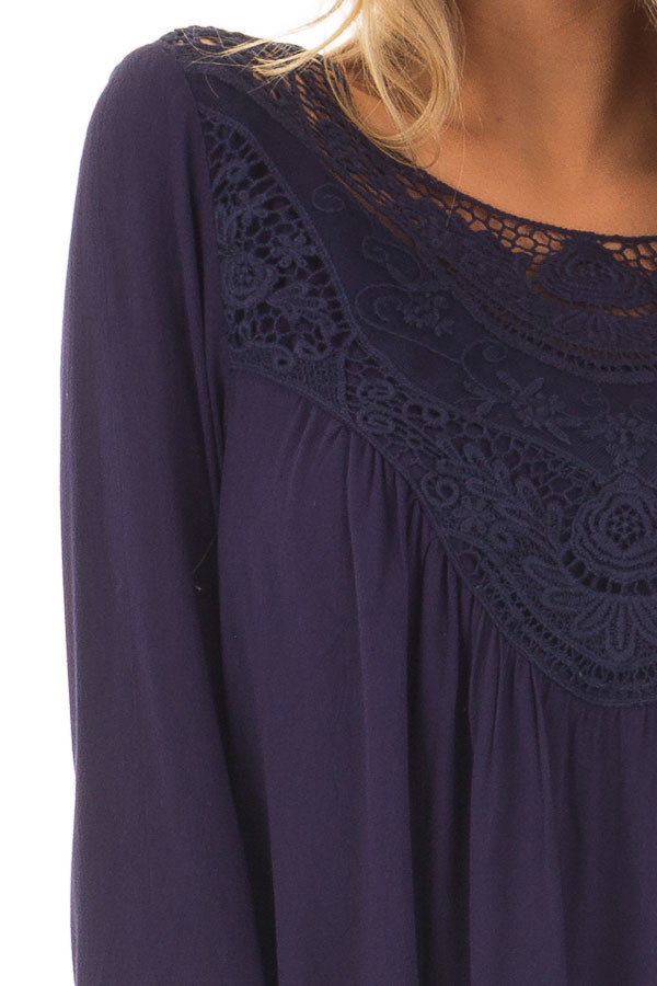 Navy Blouse with Crochet Details and Eyelet Bell Sleeves detail
