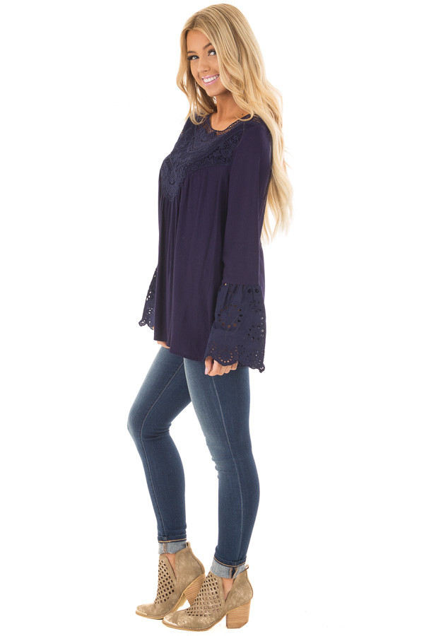 Navy Blouse with Crochet Details and Eyelet Bell Sleeves side full body