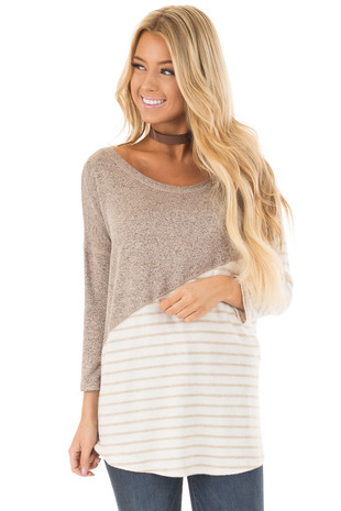 Mocha Two Tone Soft Knit Top with Striped Diagonal Contrast front close up