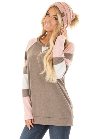 Mocha Dusty Pink and White Color Blocked Raglan Sleeve Top front close up