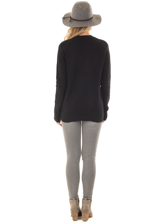 Black Crossover Drape Long Sleeve Sweater back full body