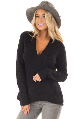 Black Crossover Drape Long Sleeve Sweater front close up