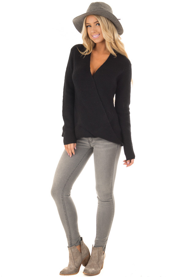 Black Crossover Drape Long Sleeve Sweater front full body