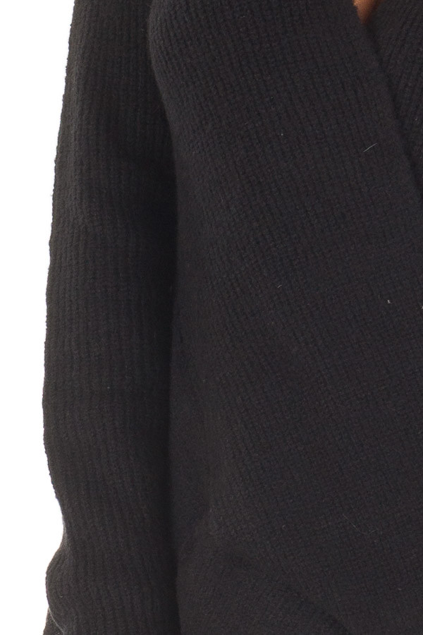 Black Crossover Drape Long Sleeve Sweater detail