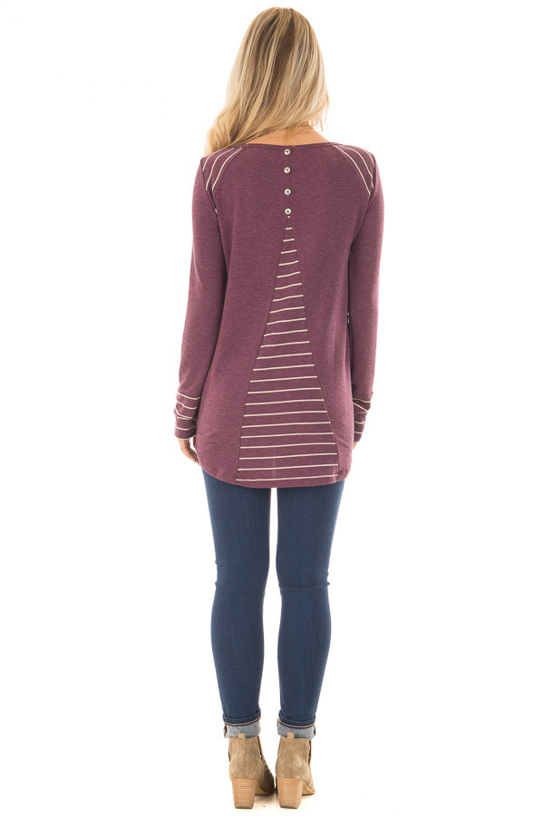 Burgundy Long Sleeve Top with Striped Contrast Details back full body