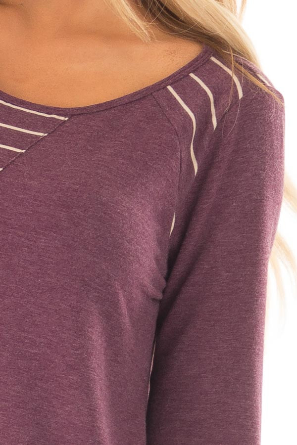 Burgundy Long Sleeve Top with Striped Contrast Details detail