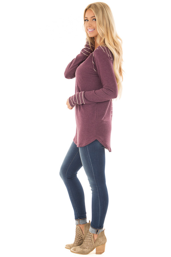 Burgundy Long Sleeve Top with Striped Contrast Details side full body
