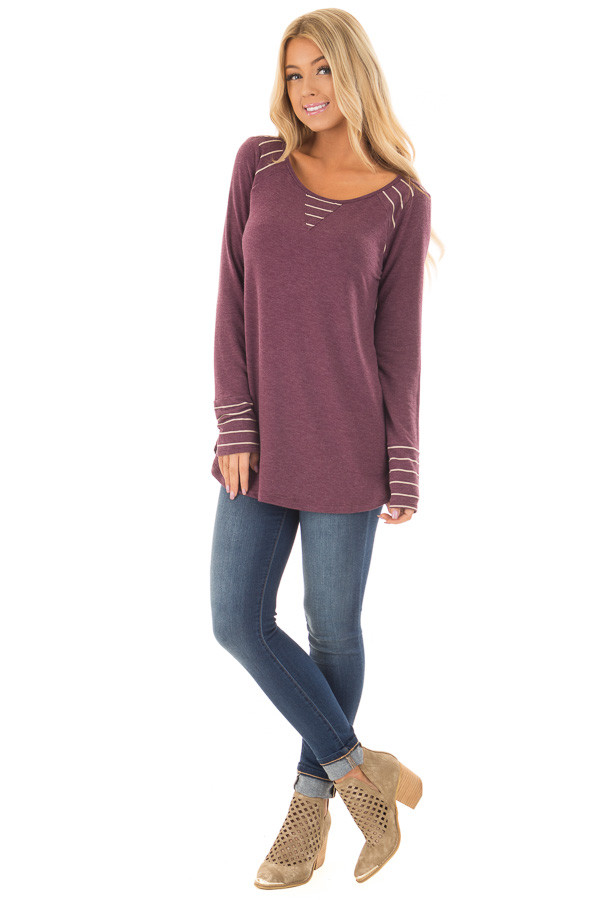 Burgundy Long Sleeve Top with Striped Contrast Details front full body