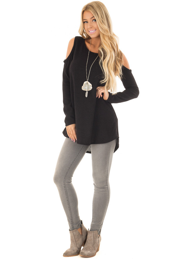 Black Cold Shoulder Tunic Sweater with Rounded Hemline front full body