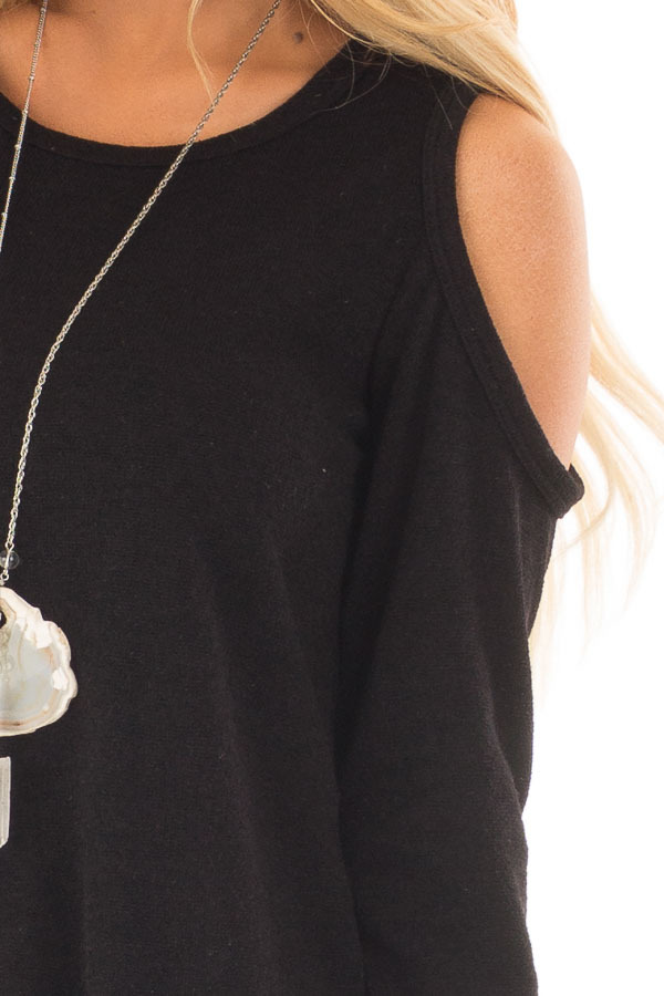 Black Cold Shoulder Tunic Sweater with Rounded Hemline detail