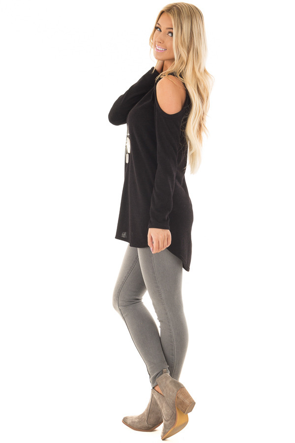 Black Cold Shoulder Tunic Sweater with Rounded Hemline side full body